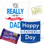 Personal Wishes - Father's Day Mug, Dairy Milk Fruit N Nut 30 gms, Dairy Milk Crackle 30 gms, Father's Day Pillow & Card