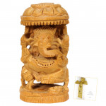 Wooden Ganesha with Umberella
