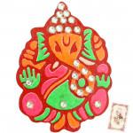 Wooden Stone Studded Ganesha