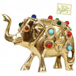 Stone Studded Metal Elephant