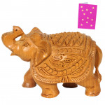 Wooden Elephant With Raised Trunck