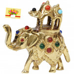 Stone Studded Golden Elephant