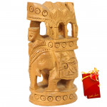 Wooden Elephant With Riding Shade