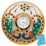 Round Peacock Marble Clock