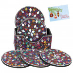 Awesome Beads Studded Tea Coasters with Stand