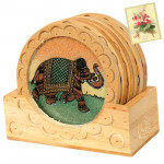 Ethnic Wooden Tea Coaster