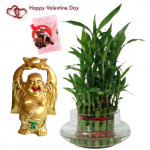 Laughing Luck - 2 Layer Lucky Bamboo, Laughing Buddha & Card