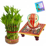 Lucky Ganesha - 3 Layer Lucky Bamboo, Ganesh Chowki & Card