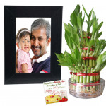 Good Luck Keepsake - 2 Layer Lucky Bamboo, Photo Frame & Card