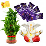 Divine Luck - 3 Layer Lucky Bamboo, Ganesh Idol, 5 Dairy Milk  & Card