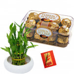 Crunchy Lucky - 2 Layer Lucky Bamboo, Ferrero Rocher 16 pcs & Card