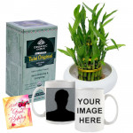 Refreshing Luck - 2 Layer Lucky Bamboo, Tulsi Original Antioxidant Rich, Tea Personalized Mug & Card