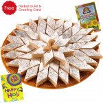 Holi Sweet Kaju Katli, Herbal Gulal and Greeting Card