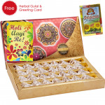 Holi Sweet Kaju Anjir Roll, Herbal Gulal and Greeting Card