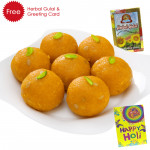 Holi Sweet Motichoor Laddoo, Herbal Gulal and Greeting Card