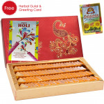 Holi Sweet Kesar Kaju Katli, Herbal Gulal and Greeting Card