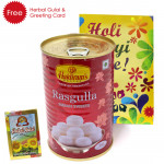 Holi Sweet Haldiram Rasgulla 500 gms, Herbal Gulal and Greeting Card