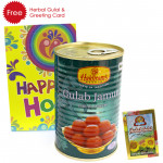 Holi Sweet Haldiram Gulab Jamun 500 gms, Herbal Gulal and Greeting Card