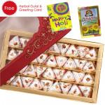 Holi Sweet Kaju Pista Pan, Herbal Gulal and Greeting Card