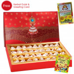 Holi Sweet Kaju Kalash, Herbal Gulal and Greeting Card