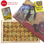 Holi Sweet Kaju Sitafal, Herbal Gulal and Greeting Card