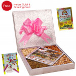 Every Time Favourite - Kaju Mix 500 gms, Assorted Dry fruits 500 gms, Herbal Gulal and Greeting Card
