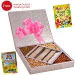 Holi Treat - Kaju Katli 500 gms, Assorted Dry fruits 500 gms, Herbal Gulal and Greeting Card