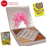 Holi Sweet Treat - Anjir Roll 500 gms, Assorted Dry fruits 500 gms, Herbal Gulal and Greeting Card