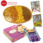 Holi Papdi n Dry Fruit- Soan Papdi , Assorted Dryfruits Basket, 5 Assorted Bars, Herbal Gulal and Greeting Card