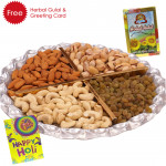 Holi Dryfruit Tray - Assorted Dry fruits 400 gms in Tray, Herbal Gulal and Greeting Card
