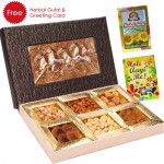 Holi Celebration - 1 Kg Assorted Dryfruits (6 items) in Decorative Box, Herbal Gulal and Greeting Card