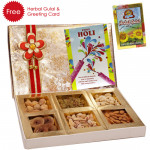 Dryfruit Assortment - Assorted Dry fruits 400 grams (6 items) in Decorative Box, Herbal Gulal and Greeting Card