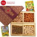 Box of Assortment - Assorted Dryfruits in Fancy Box, Herbal Gulal and Greeting Card