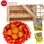 Holi Laddu n Nuts - Kanpuri Laddu 250 gms, Assorted Dryfruits 400 gms, Herbal Gulal and Greeting Card