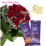 Silky Milky - 12 Roses Roses bunch, 2 Dairy Milk Silk 69 gms and card