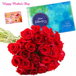 Bunch of Celebrations - Bunch Of 24 Red Roses, Cadbury's Celebration 118 Gms and card