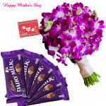 Purple Delight - 12 Orchids Bunch, 5 Dairy Milk 14 gms and card