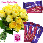 Yellow Nutty - 15 Yellow Roses Bunch, 5 Fruit N Nut 34 gms each and card