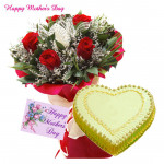Rose Pina Treat - 20 Red Roses, 1 Kg Pineapple Cake Heart Shaped and Card