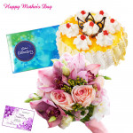 Pink Pina Celebrations - 12 Pink Roses Bunch, 1/2 Kg Pineapple Cake, Cadbury Celebration 118 gms and Card