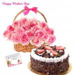 Mothers Pink Delight - 15 Pink Roses Basket, 1/2 Kg Black Forest Cake and Card