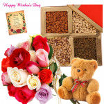 Mix Nuts - 18 Mix Roses Bunch, Assorted Dryfruits in Box 200 gms, Teddy 6 inch and card