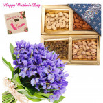 Purple Nutty Mix - Bunch of 12 Purple Orchids, Assorted Dryfruits in Box 500 gms and card