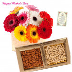Mix Crunch - Bunch of 25 Mix Color Gerberas, Almond & Cashew 200 gms Box and card