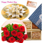 Sweet Red Nut - Bunch of 12 Red Roses, Assorted Dryfruits in Box 200 gms, Kaju Katli 250 gms and card