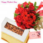 Brainy Crunch - Bunch of 15 Red Roses with Red Carnations, Almond 500 gms Box and card