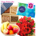Mix N Match - 10 Red Mix Flowers Bouquet, 200 gms Assorted Dryfruits, Celebrations 118 gms, 1 Kg Seasonal Fruits Basket and card