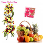 Grand Wishes - 30 Yellow Gerberas + 40 Red Carnations Life Size Arrangement, 5 kg Mix Fruits in Basket and card