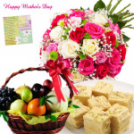 Healthy N Salty - 20 Mix Roses Bouquet, 2 Kg Mix Fruits in Basket, Haldiram Soan Papdi 250 gms and card