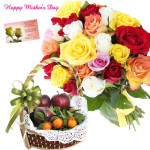 Mixture of All - 12 Mix Roses Bouquet, 2 Kg Mix Fruits in Basket and card